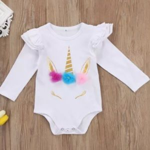 Other - White Unicorn Long Sleeve Onesie Bodysuit